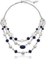 """Nine West VINTAGE AMERICA Silver-Tone and 16"""" Multi-Row Necklace, 16"""" + 2.25"""" Extender"""