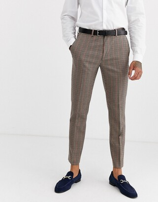 Burton Menswear skinny fit suit trousers in house check-Brown