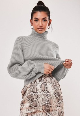 Missguided Petite Tan Rib Turtle Neck Tuck Sleeve Sweater