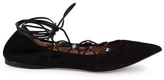 Valentino Rockstud Suede Lace-Up Gladiator Flats