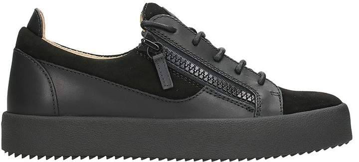 Giuseppe Zanotti Frenkie Black Leather And Suede Sneakers