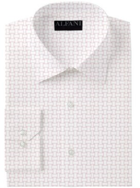 Alfani AlfaTech by Men's Slim-Fit Performance Stretch Basket Print Dress Shirt, Created for Macy's
