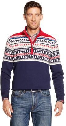 Izod Men's Sportswear Classic-Fit Fairisle Quarter-Zip Sweater