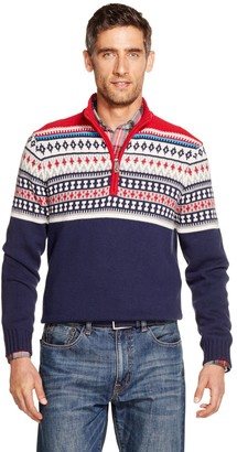 Izod Men's Sportswear Classic-Fit Fairisle Quarter-Zip Sweater