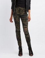 Charlotte Russe Cello Camo Destroyed Skinny Jeans