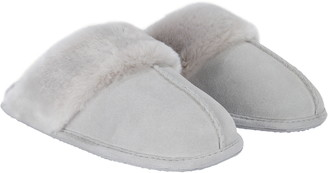 The White Company Suede Mule Slipper with Faux Fur Trim