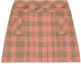 Gucci Optical damier wool mini skirt