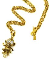 Kenneth Jay Lane Crystal & Antique Gold Plated Monkey Pendant Necklace