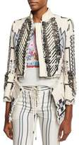 Roberto Cavalli Blanket Embellished Jacket, White/Blue