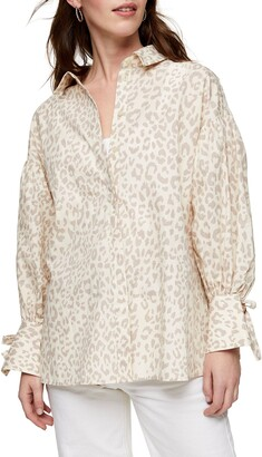 Topshop Animal Print Poplin Shirt