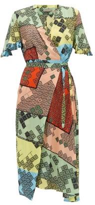 Preen Line Bessara Mosaic-print Crepe De Chine Midi Dress - Womens - Multi
