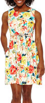 Studio 1 Sleeveless Belted Floral Fit-and-Flare Dress - Petite