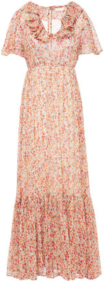 By Ti Mo Ruffled Floral-print Crepon Maxi Dress