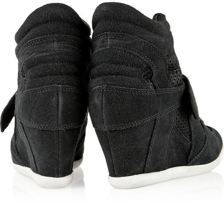 Ash Bowie suede and mesh wedge sneakers