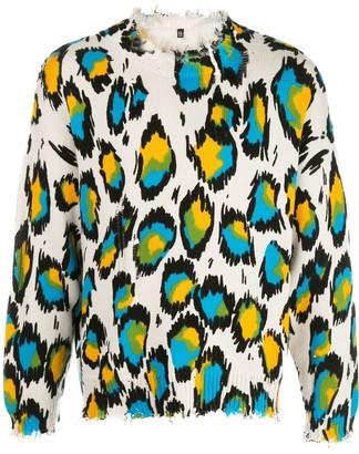 R 13 Knitted Leopard Print Jumper