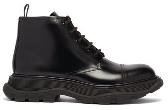 Alexander McQueen Exaggerated-sole Lace-up Leather Ankle Boots - Black