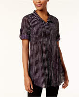 Style&Co. Style & Co Style & Co Petite Printed Mesh Shirt, Created for Macy's