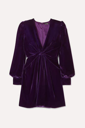 Tom Ford Twist-front Velvet Mini Dress - Purple
