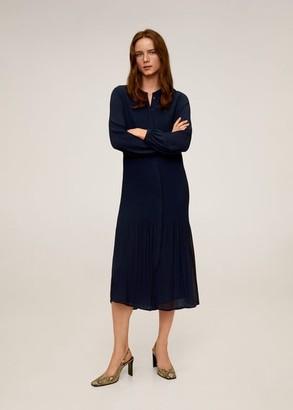 MANGO Pleated midi dress dark navy - 4 - Women