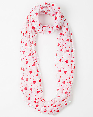 Le Château Heart Print Lightweight Infinity Scarf