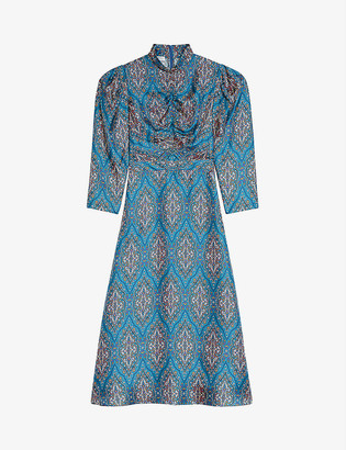 Sandro Kaela graphic-print silk midi dress
