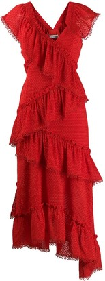 Three floor Rouge tiered midi dress
