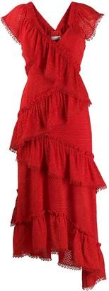 Three floor Rouge tiered midi dress