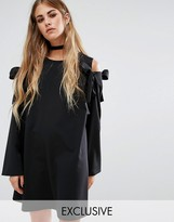 Reclaimed Vintage Oversized Shift Dress With Cold Shoulder Bows