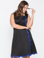 ELOQUII Plus Size Scallop Trim A-Line Dress