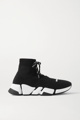 Balenciaga Speed 2.0 Stretch-knit High-top Sneakers - Black