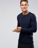 Selected Melange Ribbed Knitted Sweater