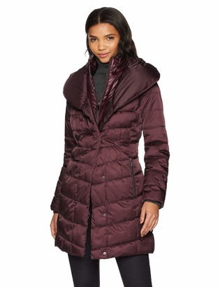 Kenneth Cole New York Kenneth Cole Women's Thigh Length Zip Puffer Jacket with Pillow Collar