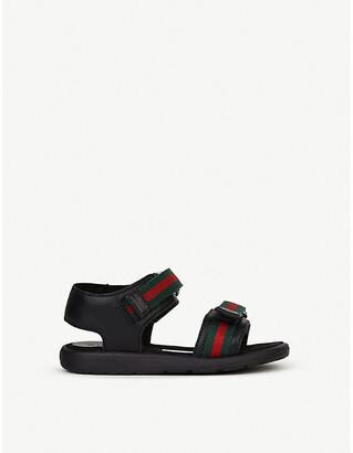Gucci Gauffrette leather sandals 6 months-4 years, Size: EUR 21 /5 UK KIDS, Black