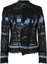 Yigal Azrouel embroidered biker jacket - women - Lamb Skin/Polyester - 0