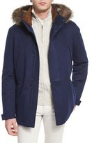 Loro Piana Icer Cashmere Storm Jacket with Fur-Trimmed Hood, Blue