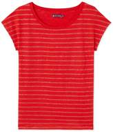 Petit Bateau Womens linen tee with shiny stripes