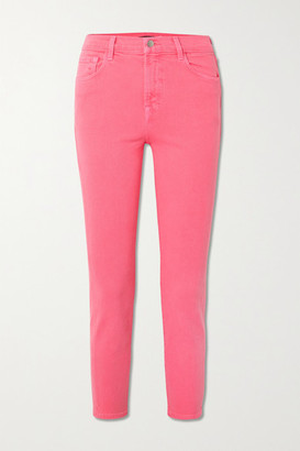 J Brand Ruby Cropped High-rise Slim-fit Jeans - Pink