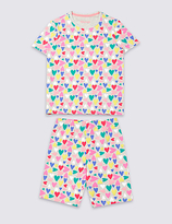 Marks and Spencer All Over Heart Print Short Pyjamas (1-16 Years)