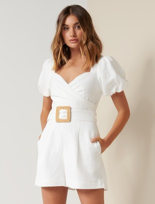 Forever New Nadia Sweetheart Belted Playsuit - White - 10