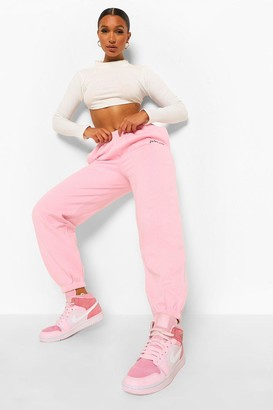 boohoo Oversized Embroidered Woman Script Joggers