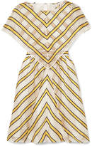 Fendi Cape-effect Cutout Striped Silk-blend Organza Mini Dress - Yellow
