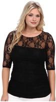 Kiyonna Smitten Lace Top Women's Clothing