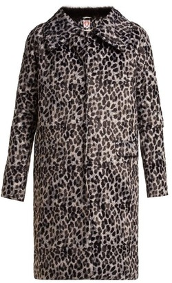 Shrimps Erin Leopard-print Single-breasted Coat - Womens - Grey Multi