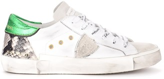Philippe Model Paris X Sneaker In White Leather And Suede With Green Laminated Spoiler And Python Print