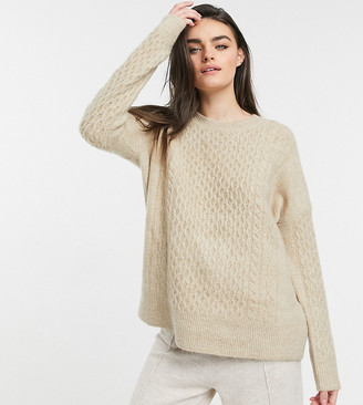 M Lounge relaxed sweater set in cable knit