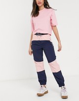 Tommy Jeans colour block jogger in blue and pink