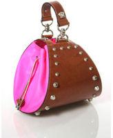 Versace Studded Light Brown Tan Leather Hot Pink PVC Side Mini Wrist Bag EVHB