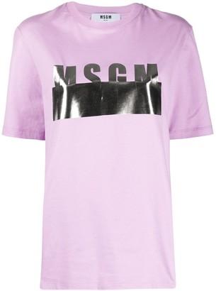 MSGM metallic logo print T-shirt
