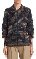 Brunello Cucinelli Feather and Sequin Trimmed Cardigan