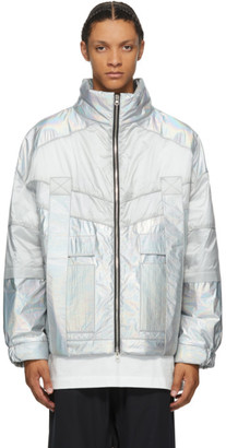JERIH Silver Iridescent Color Block Jacket